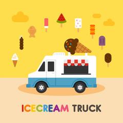 simple cute ice cream truck and menu vector flat design illustration set
