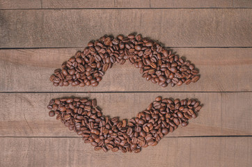 Frame of coffee beans with free space for text, top view