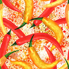 Seamless pattern, watercolor chili peppers with splashes of pain