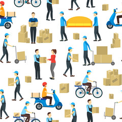 Cartoon Delivery Workers Background Pattern on a White. Vector