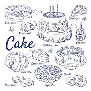 Doodle set of cake - Fruit, Biscuit, Classic, Cup cake, birthday, Cream, Bundt, Sheet, Apple, Pie, Donuts, candles, wedding, hand-drawn. Vector sketch illustration isolated over white background.