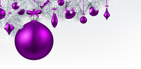Background with purple 3d Christmas ball.