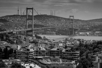 Suspension bridge over cityscape of Istanbul.