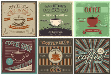 Set of retro vector background with coffee design.