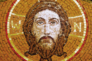 Fotomurales - Antique mosaic icon of Jesus Christ (religion, faith, death, resurrection, eternity concept)