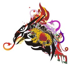 Flaming dragon head symbol in grunge style. Peaked dragon with arrows, with colorful elements, an element of a jaguar and red heart