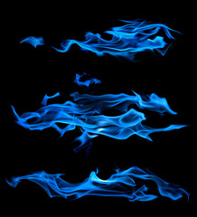 blue flame long sparks isolated on black
