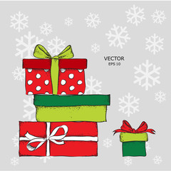 A bunch of gifts. Vintage drawing. Vector illustration