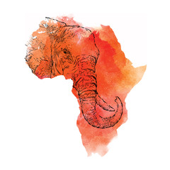 Ethnic hand drawing head of elephant in the vector map of Africa. Vector illustration. Abstract Background with Watercolor Stains