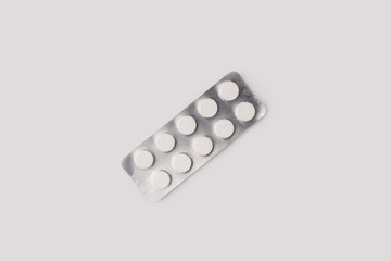 blister pack with white pills