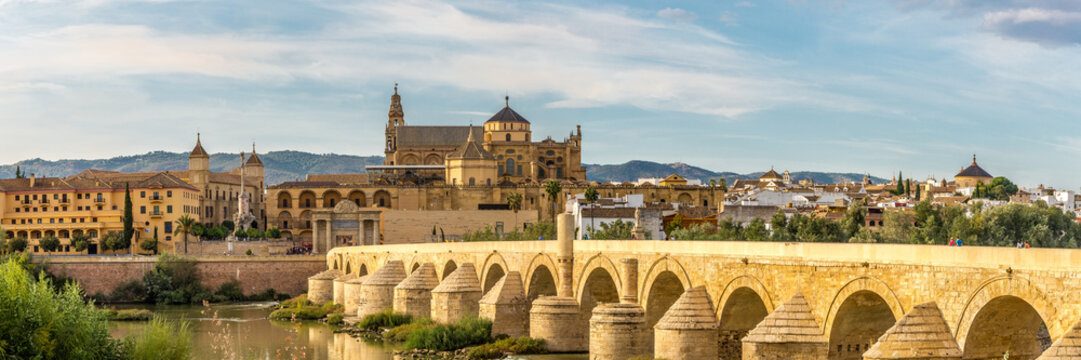 Panoramic view at the Mosque-Cathedral with Roman bridge in Cordoba, Spain