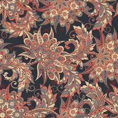 Floral oriental ethnic Pattern. Seamless fabric patterns.