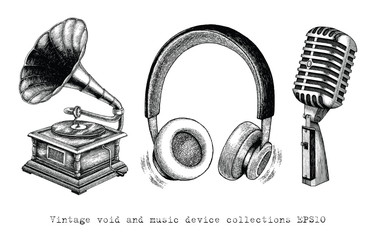 Vintage Void and Music device collections hand drawing