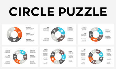 Vector circle arrows puzzle infographic, cycle diagram, graph, presentation chart. Business concept with 3, 4, 5, 6, 7, 8 options, parts, steps, processes.