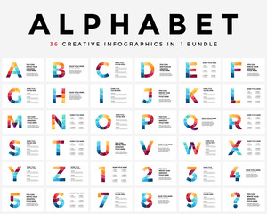 Vector alphabet infographic, presentation slide template. Business typographic concept with all numbers and letters. 16x9 aspect ratio. 36 infographics in 1 bundle. Latin type.