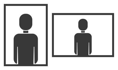 Vertical and horizontal photo frame orientation symbol, portrait and landscape layout orientation icon with simple man silhouette sign for photography, video appliance
