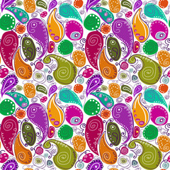 Seamless pattern of abstract Turkish cucumber, abstract, colorful, elements, Indian cucumber, Turkish cucumber, Paisley, Bob