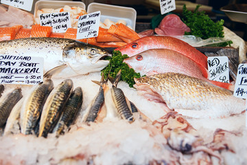 Freshly caught Sea fishes and other seafood on display at Borough Market