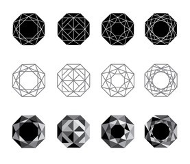 Abstract polygons, imitation of precious stones, a variant of the division of an octagon. Vector