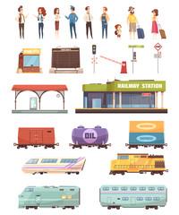 Railway Decorative Icons Set