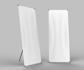 X-STYLE COLLAPSIBLE BANNER STAND READY FOR YOUR DESIGN. Blank white 3d rendering illustration.