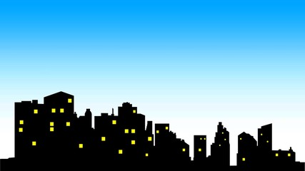 City center skyline with black buildings silhouette, yellow illuminating windows and blue sky.