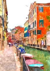 Abstract watercolor digital generated painting of the water canal, houses and anchoring boats in Venice, Italy.