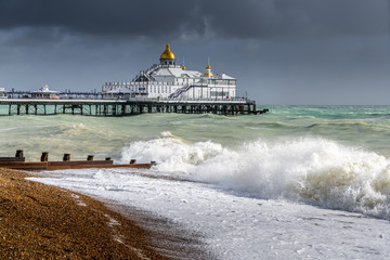 EASTBOURNE, EAST SUSSEX/UK - OCTOBER 21 : Tail End of Storm Brian Racing Past Eastbourne Pier in East Sussex on October 21, 20017