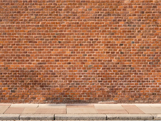 Printed roller blinds Brick wall Red brick wall with sidewalk