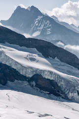 Aletsch glacier, view from Jungfraujoch, the highest railway station in the Alps, Berner Oberland, Switzerland