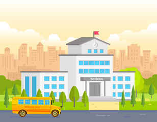 City school building with yellow bus - modern vector illustration