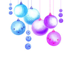 watercolor blue and purple christmas balls