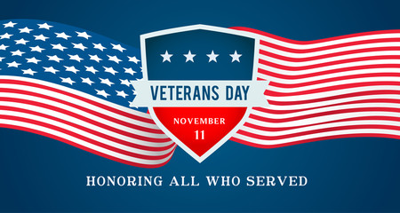 Veterans Day Vector illustration, Honoring all who served, Emblems on USA flag waving.