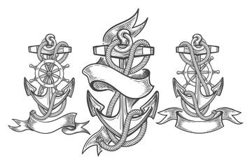 Ship anchor tattoo set
