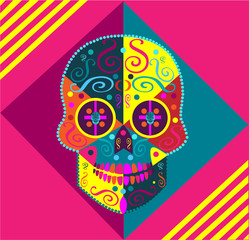 Colorful skull icon background vector illustration