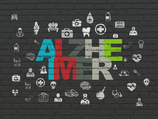 Medicine concept: Painted multicolor text Alzheimer on Black Brick wall background with  Hand Drawn Medicine Icons