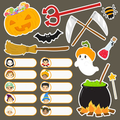 printable Halloween characters labels and stickers set. Halloween cartoon vector collection