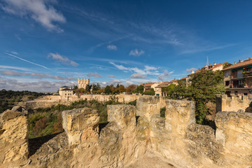 Landscape from the medieval ramparts of Segovia. Spain.