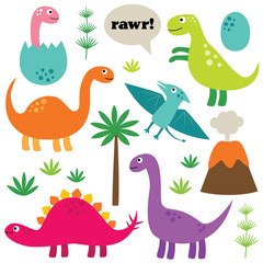 Cartoon dinosaurs, isolated, colorful set