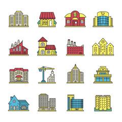 City buildings color icons set