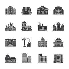 City buildings glyph icons set