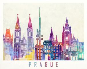 Fototapete - Paris landmarks watercolor poster