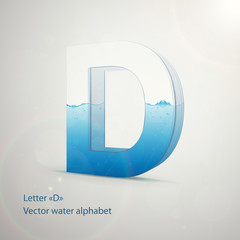 Vector water alphabet on gray background. Letter D. EPS 10 template for your art and advertisement