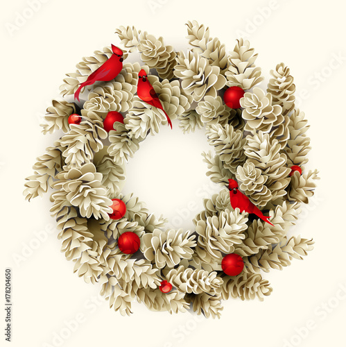 7efa3af00dde White card with Christmas wreath of fir cones and christmas decorations, red  birds and balls. Realistic Vector illustration.