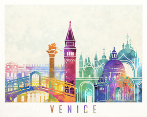Fototapete - Venice landmarks watercolor poster