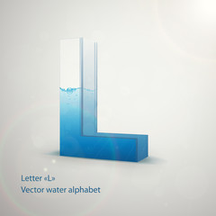 Vector water alphabet on gray background. Letter L. EPS 10 template for your art and advertisement