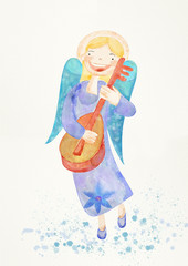 Angel playing. Watercolor design element.