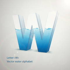Vector water alphabet on gray background. Letter W. EPS 10 template for your art and advertisement
