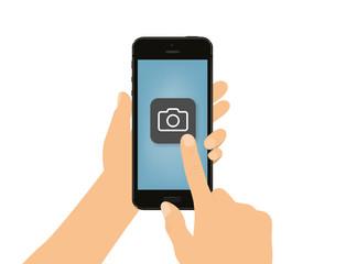 Hand tippt auf Smartphone - Kamera