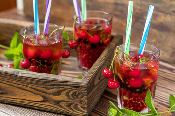 Refreshing  drinks flavored with fresh fruit